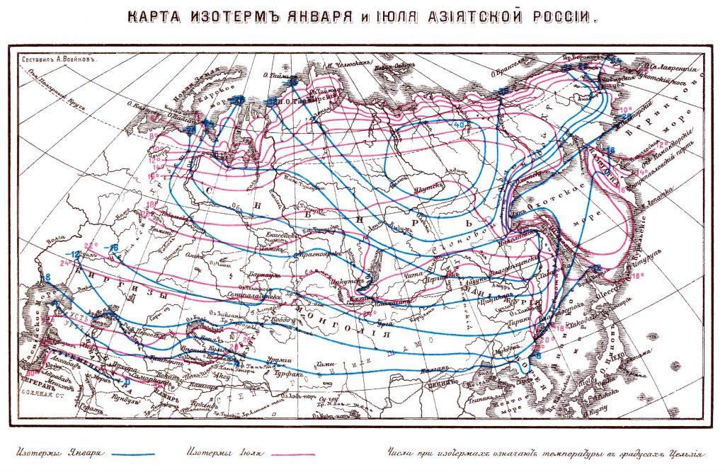 Карта изотерм января и июля Азиатской России, 1901 г.