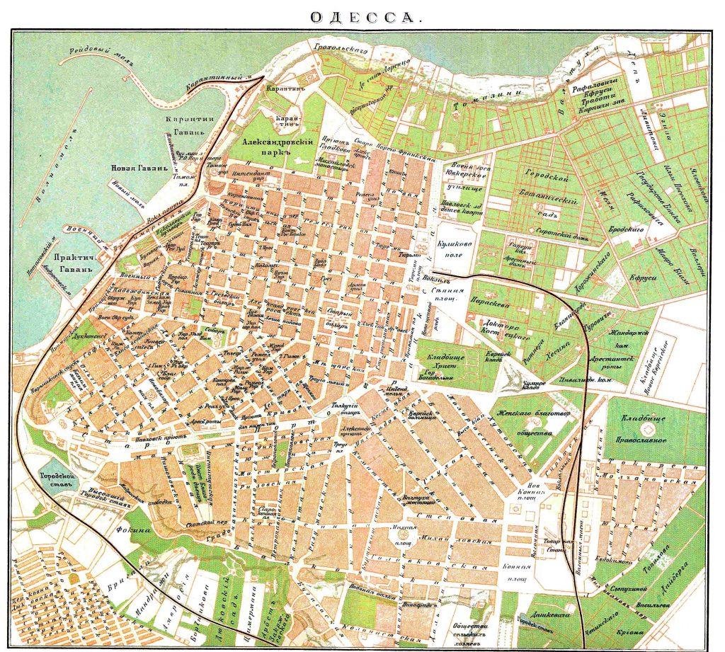 Карта Одессы, 1901 г.