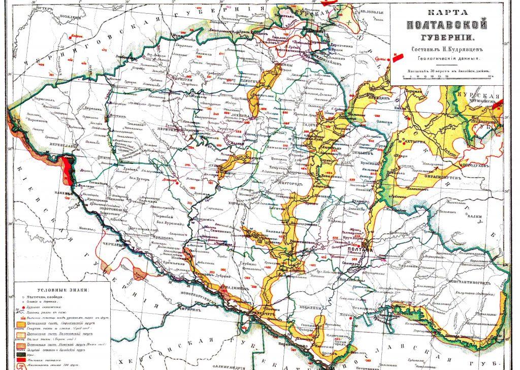 Карта Полтавской губернии, 1901 г.