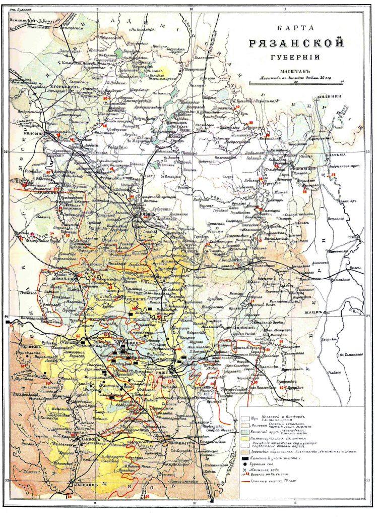 Карта Рязанской губернии, 1901 г.