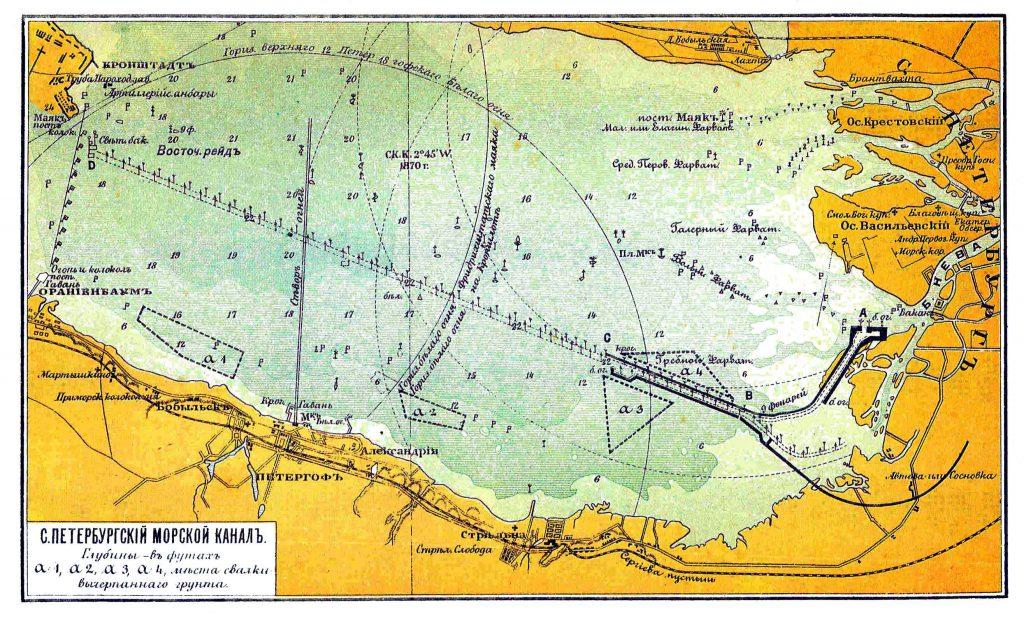 Карта Санкт-Петербургского морского канала, 1901 г.
