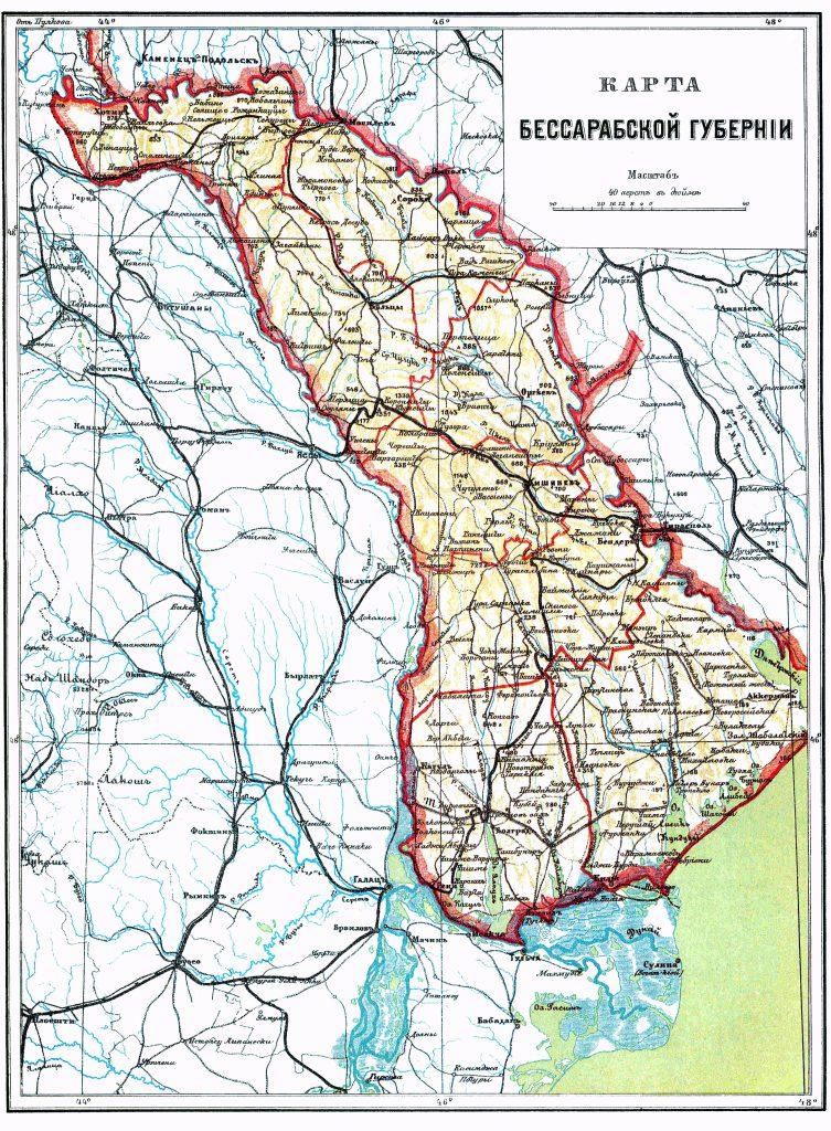 Карта Бессарабской губернии, 1901 г.
