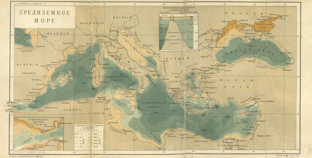 Карта Средиземного моря, 1901 г.