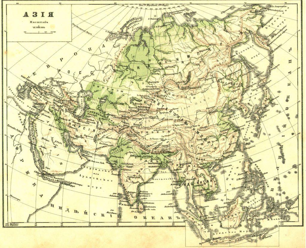 Карта Азии, 1989 г.