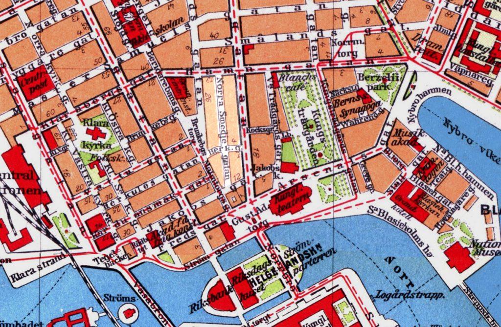 Детализированная карта центра Стокгольма, 1928 г.