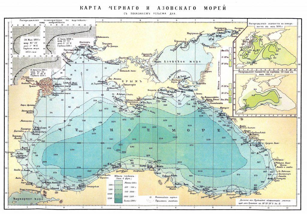 Карта Чёрного и Азовского морей, 1901 г.