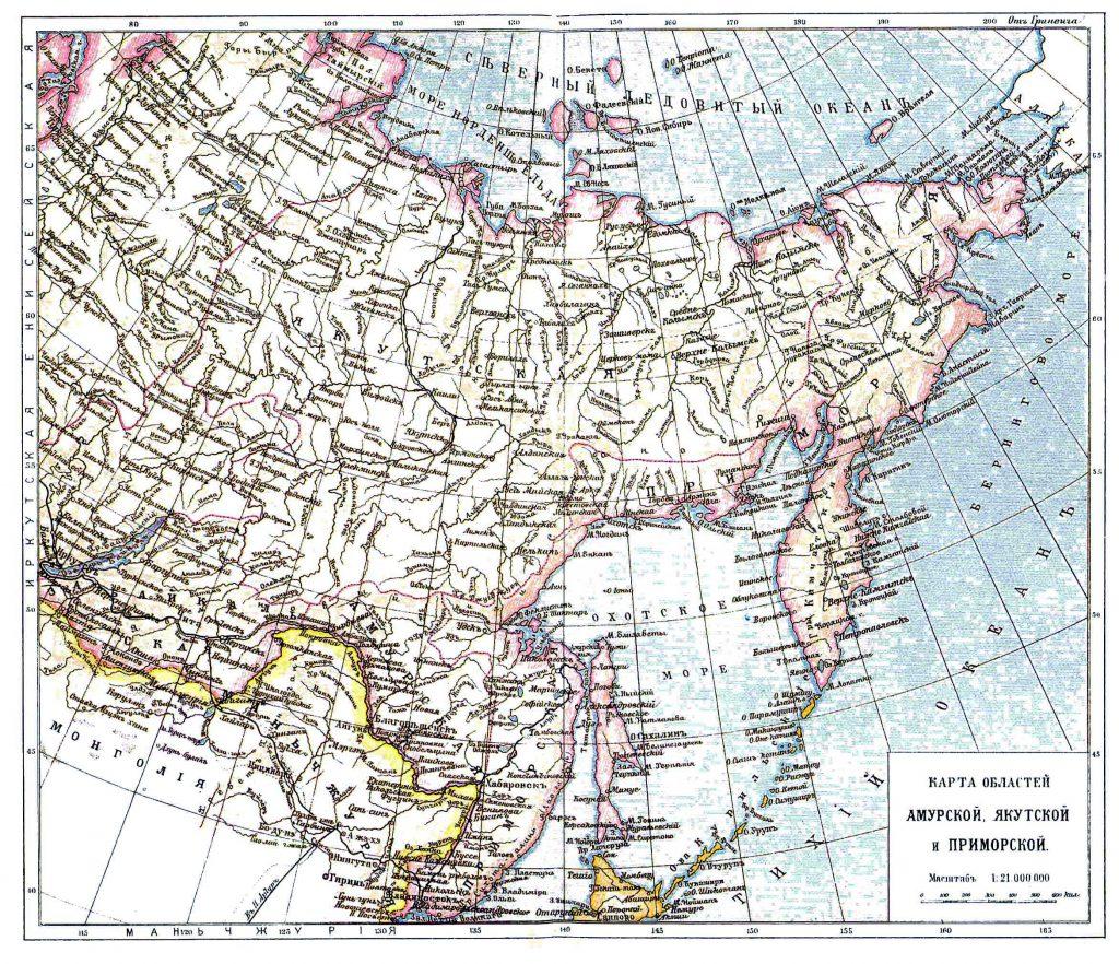 Карта областей Амурской, Якутской и Приморской, 1901 г.