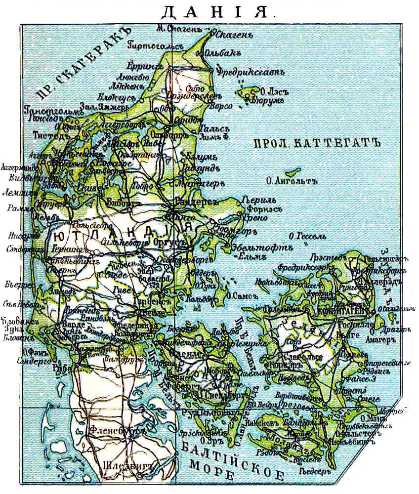 Карта Дании, 1901 г.