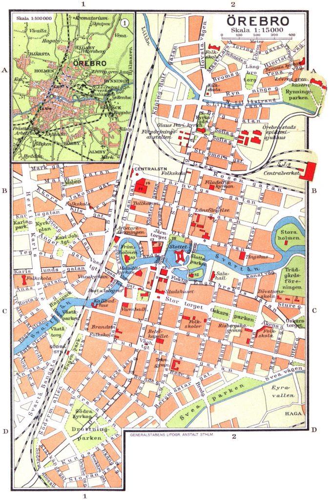 Карта Эребру, 1928 г.