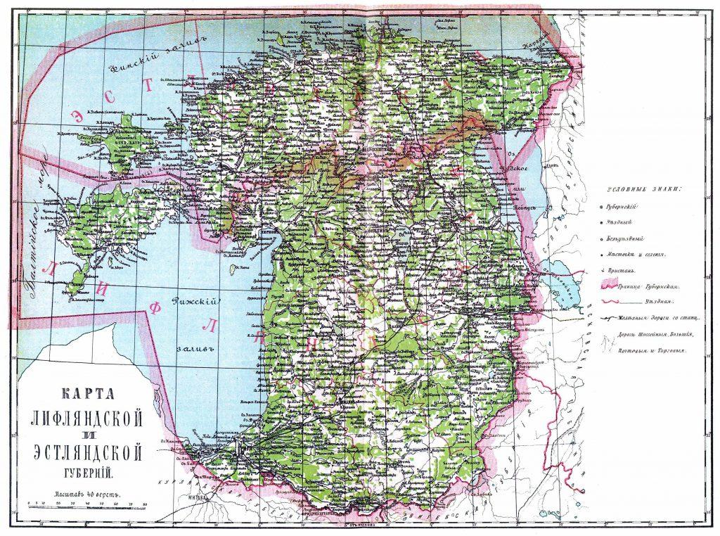 Карта Лифляндской и Эстляндской губерний, 1901 г.