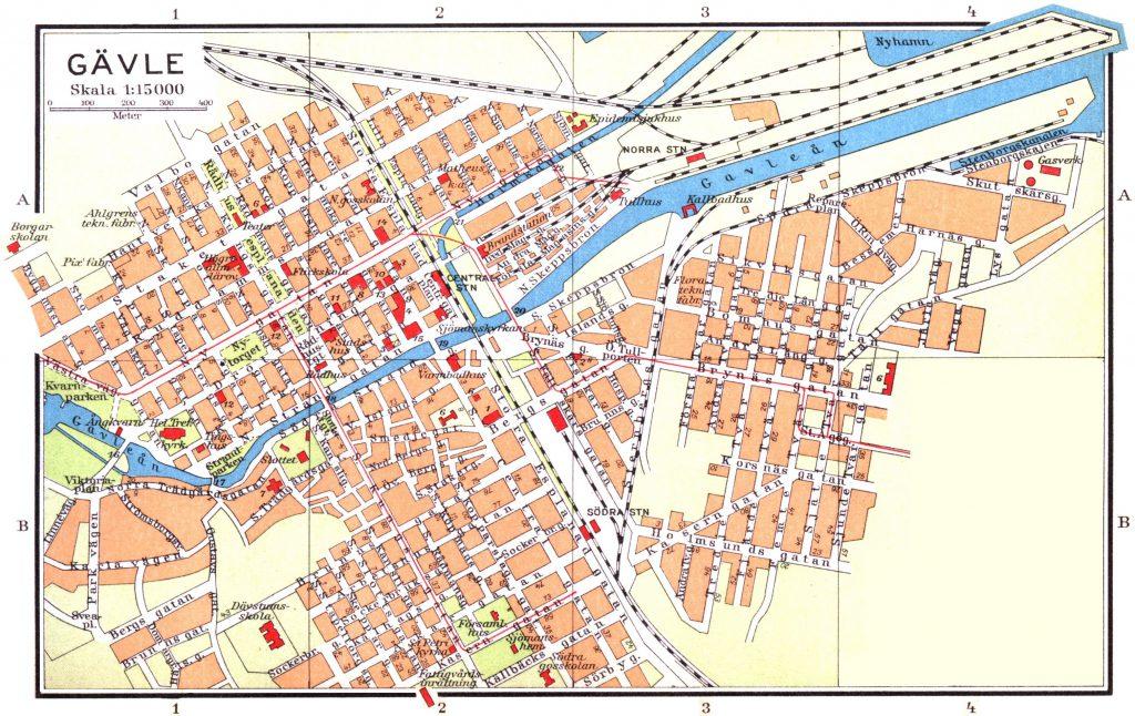Карта Евле, 1928 г.