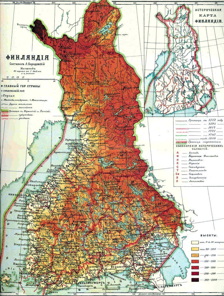 Карта Финляндии, 1901 г.