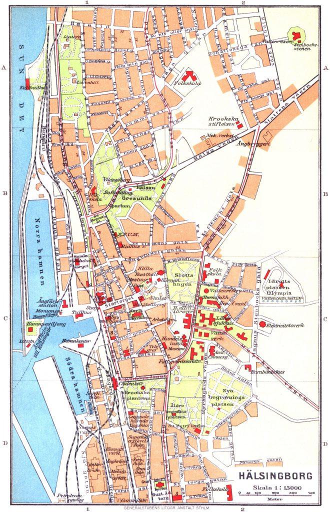 Карта Хельсингборга, 1928 г.