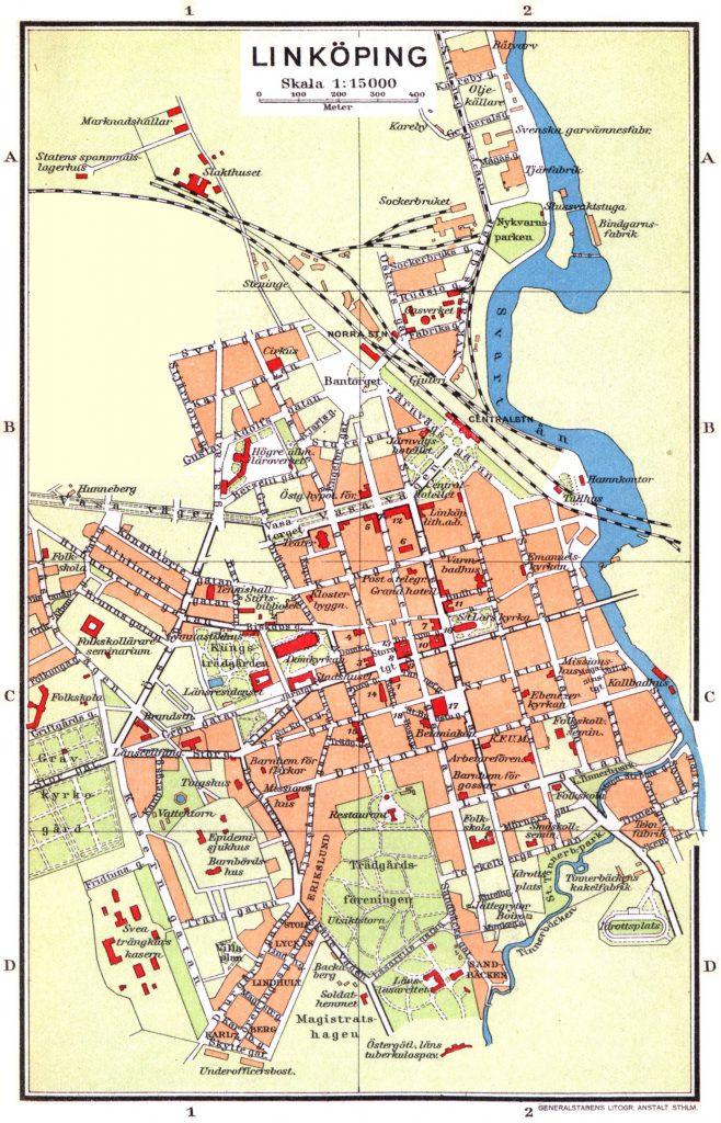 Карта Линчёпинга, 1928 г.