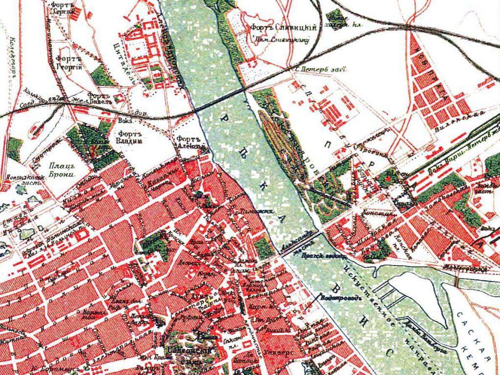 Карта мостов Варшавы, 1901 г.