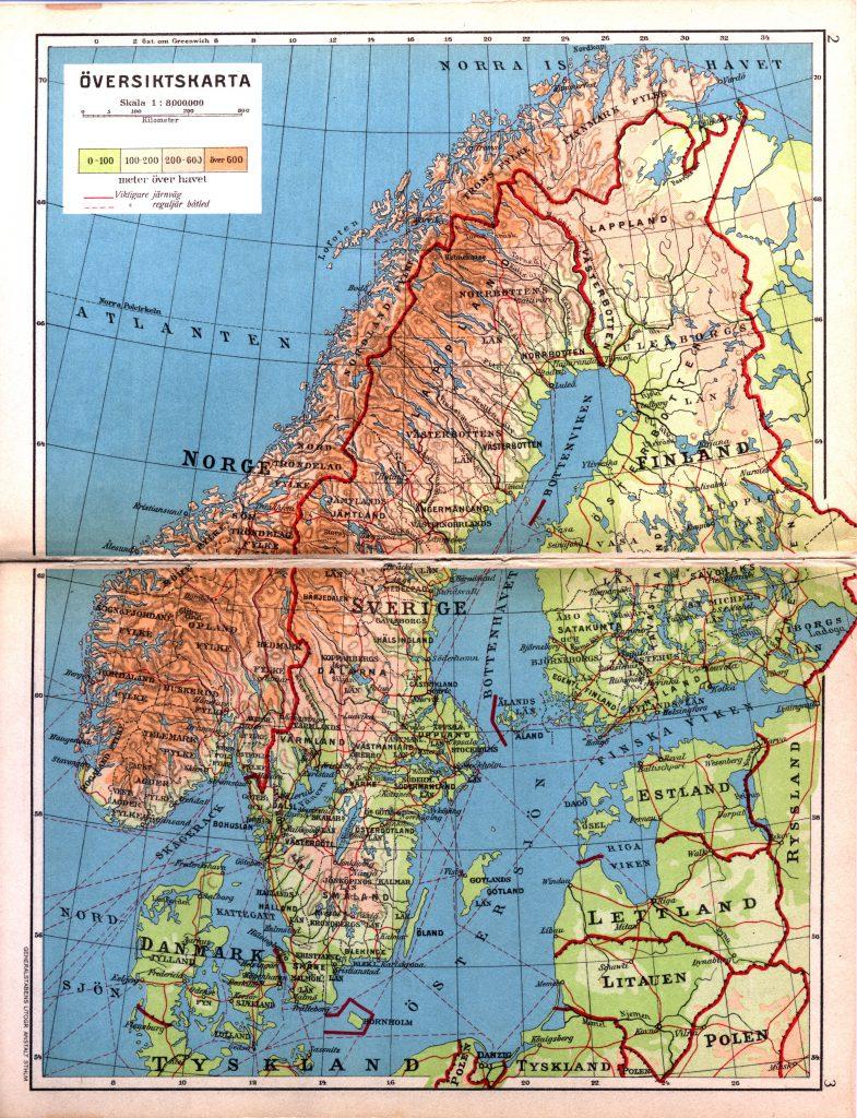 Ландшафтная карта Скандинавии, 1928 г.