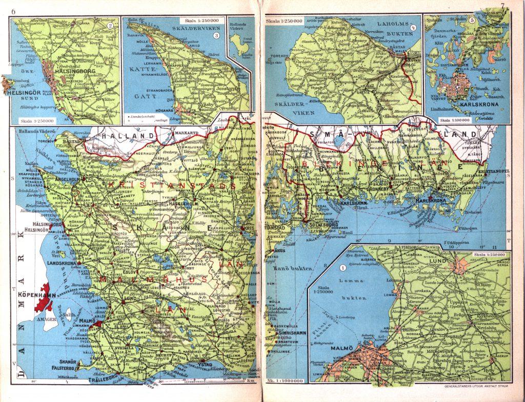 Ландшафтная карта Сконе с обозначение населённых пунктов и дорог, 1928 г.