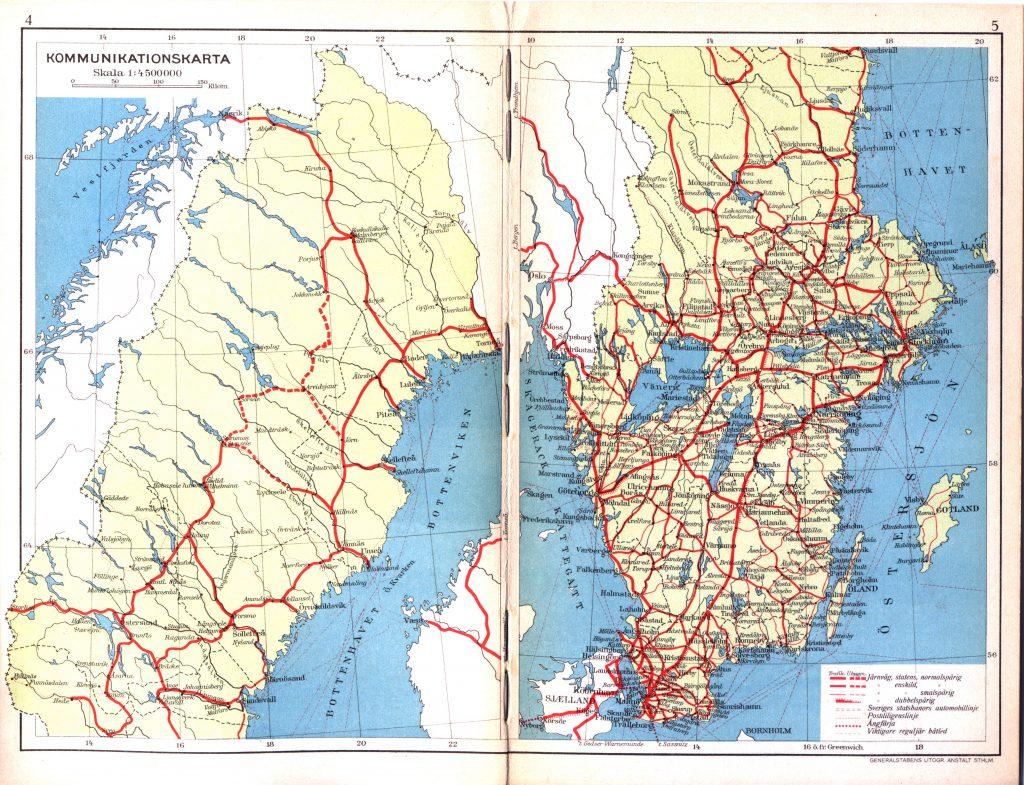 Карта Швеции, 1928 г.