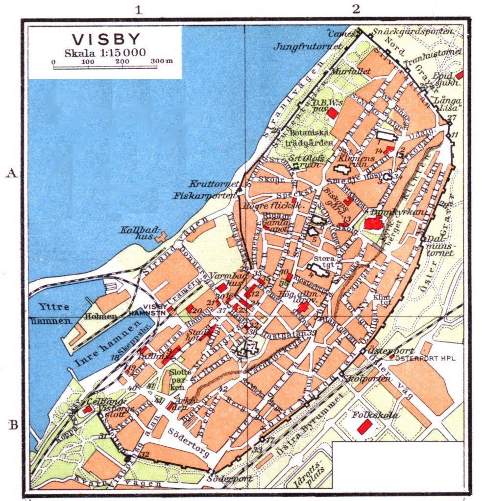 Карта Висбю, 1928 г.