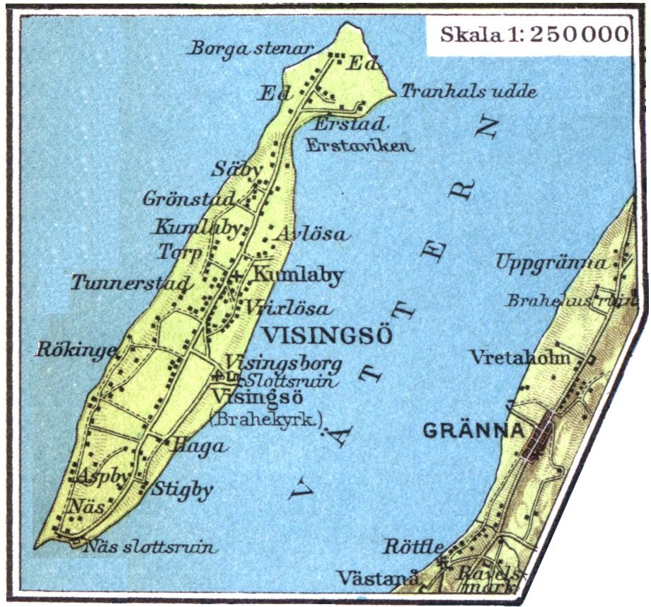 Карта острова Висингсё, 1928 г.