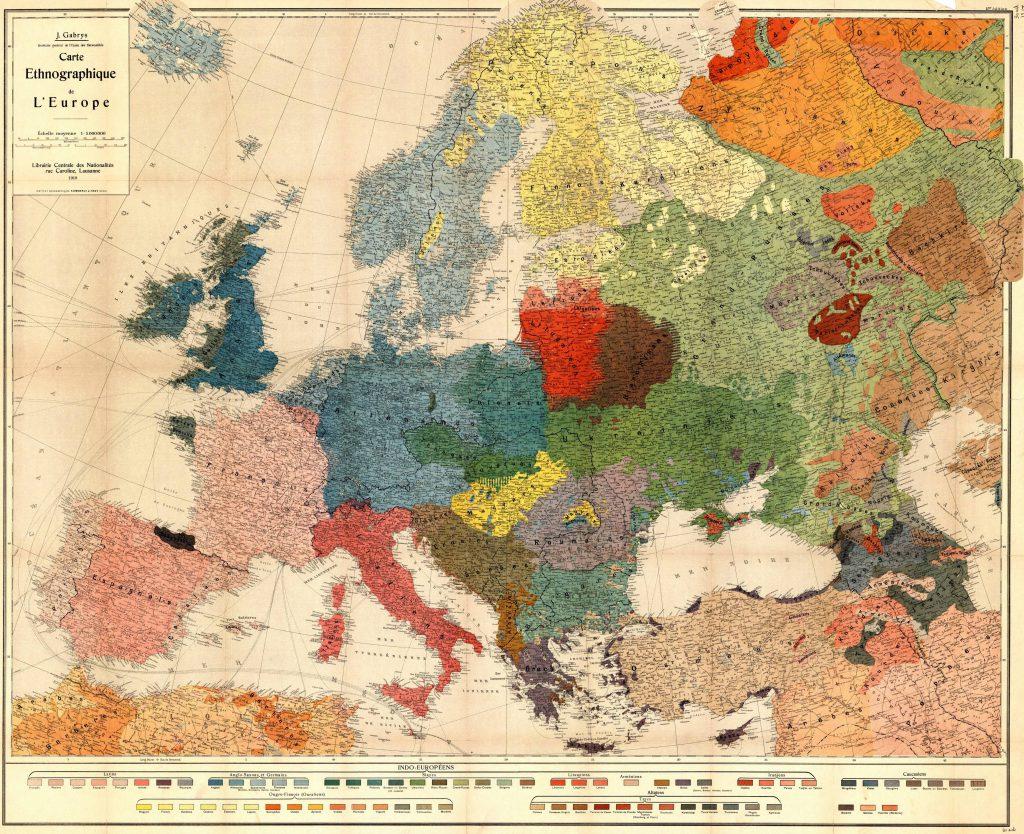 Этнографическая карта Европы, 1918 г.