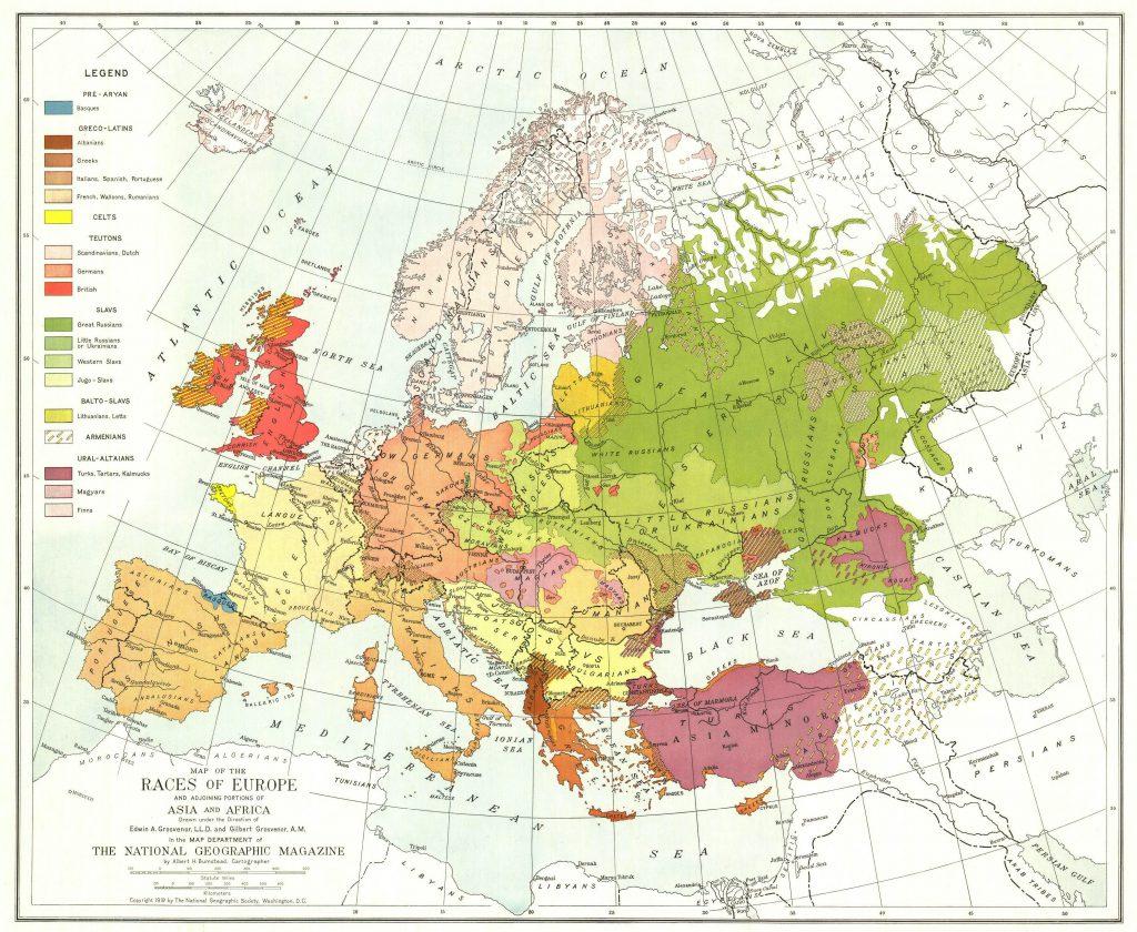 Этнографическая карта Европы начала XX века