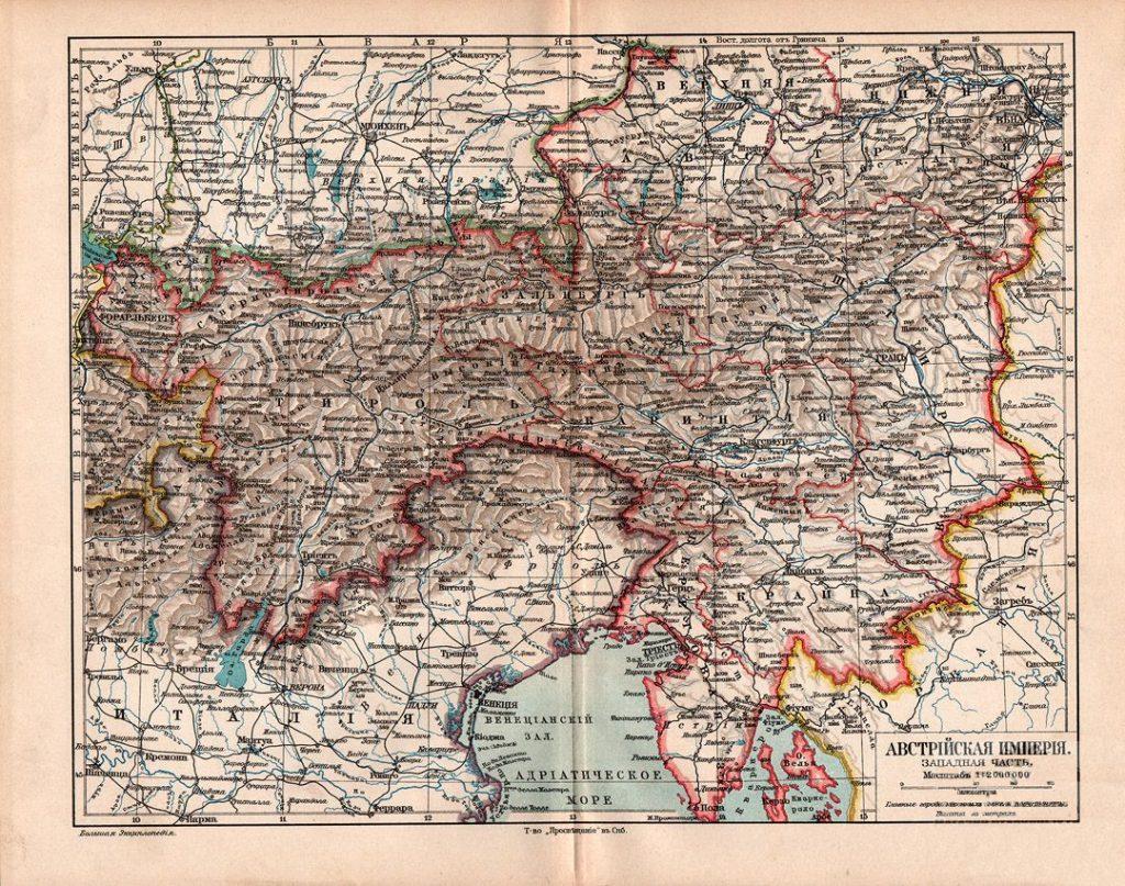 Карта Австрийской империи. Западная чась, 1902 г.