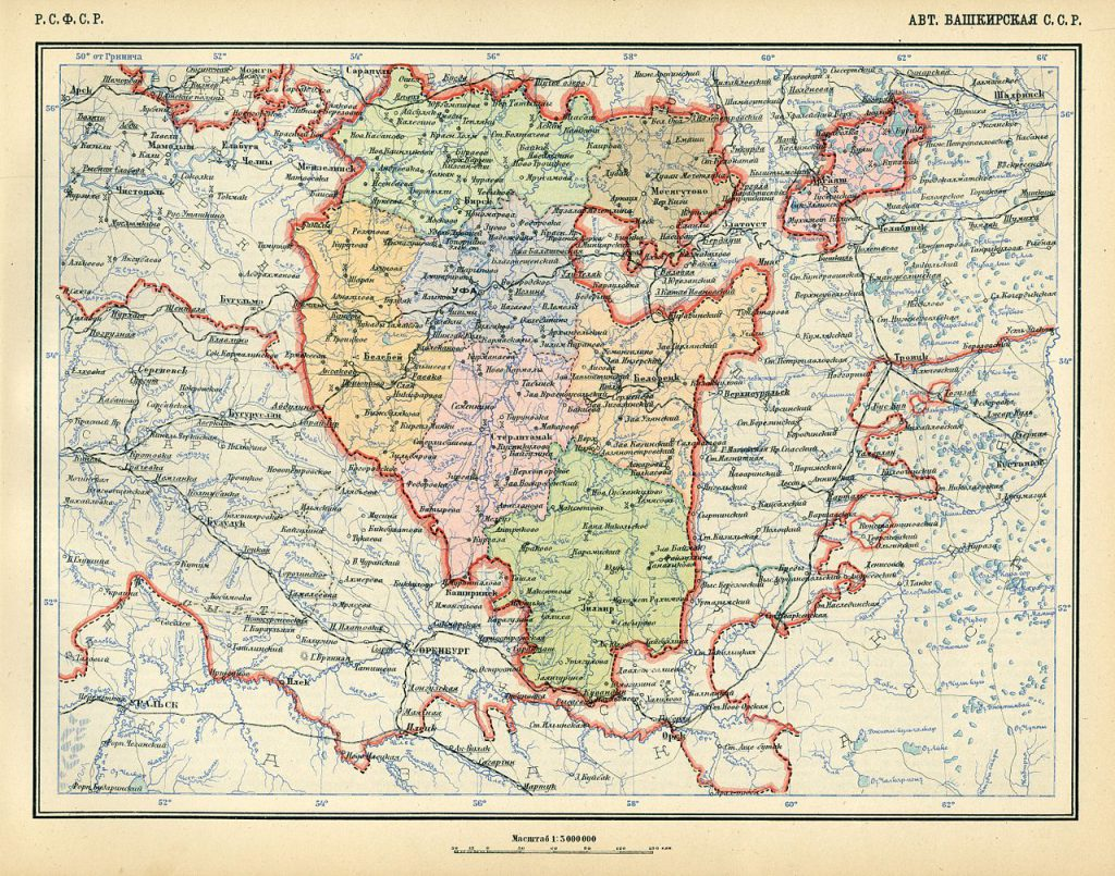 Карта Автономной Башкирской Социалистической Советской Республики, 1928 г.