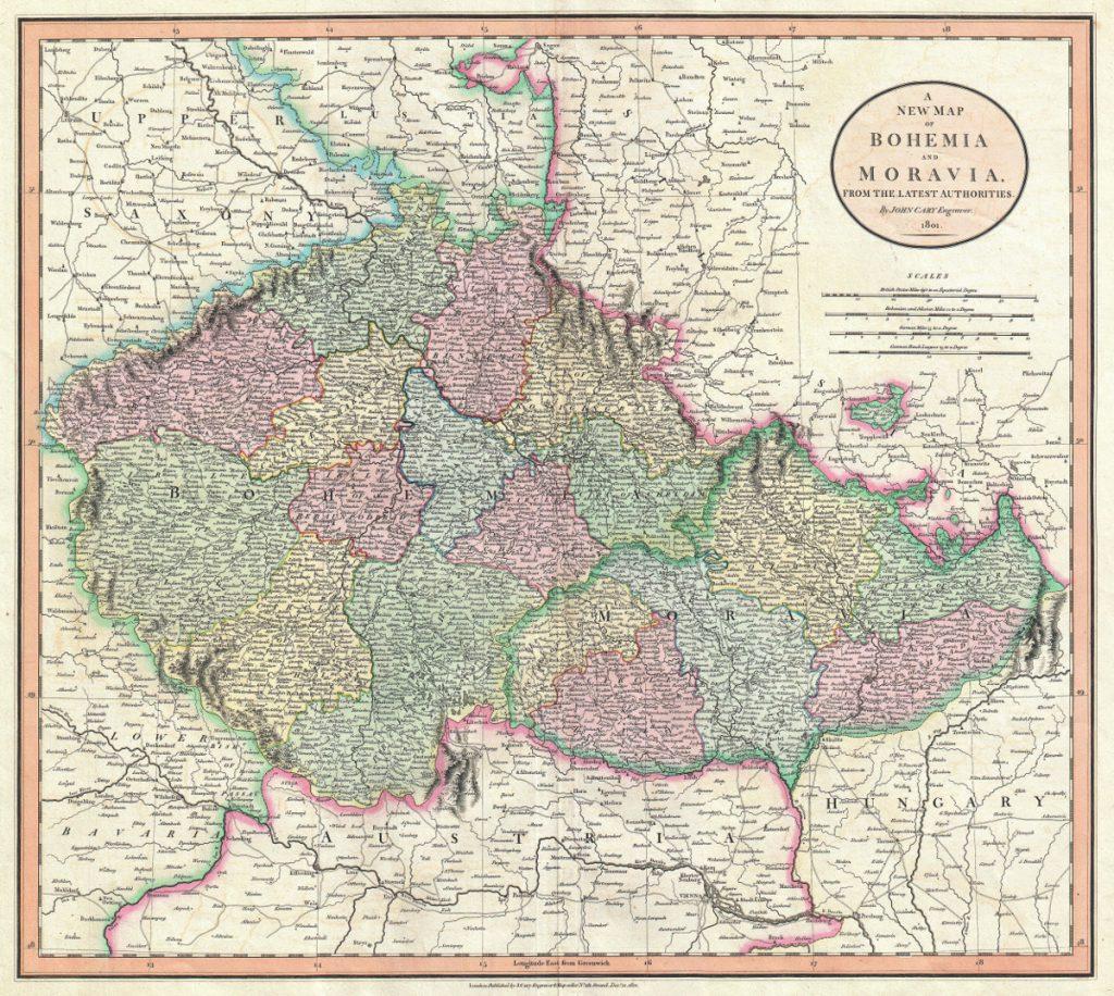 Карта Богемии и Моравии, 1801 г.