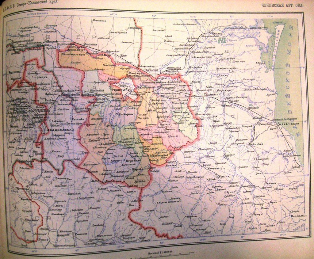 Карта Чеченской Автономной Области, 1928 г.