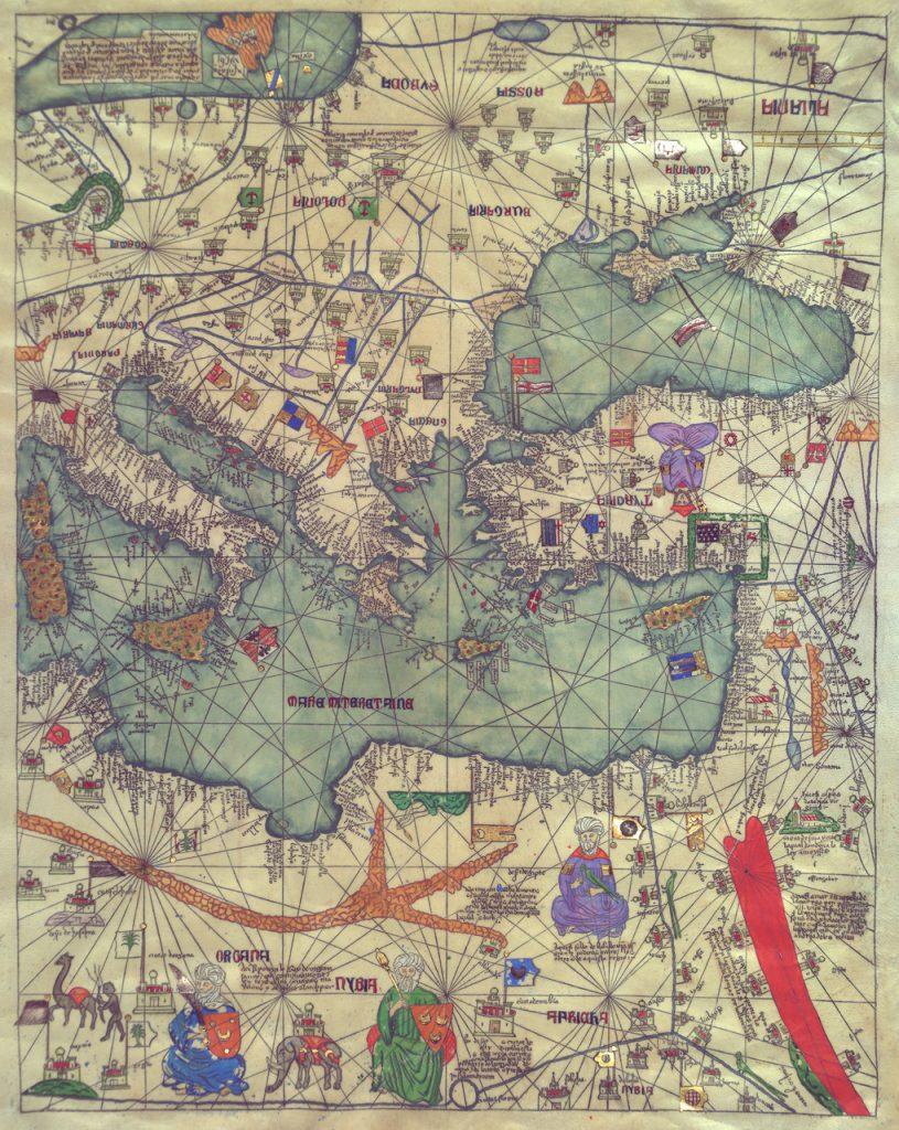 Карта Европы, Восток, 1375 г.