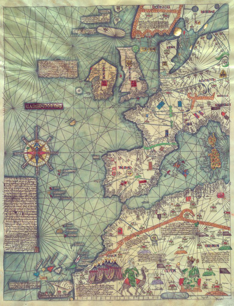 Карта Европы, Запад, 1375 г.