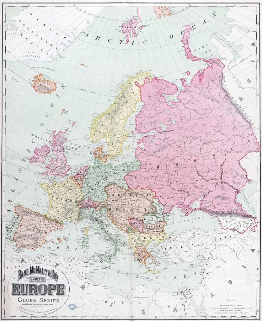 Карта Европы, 1894 г.