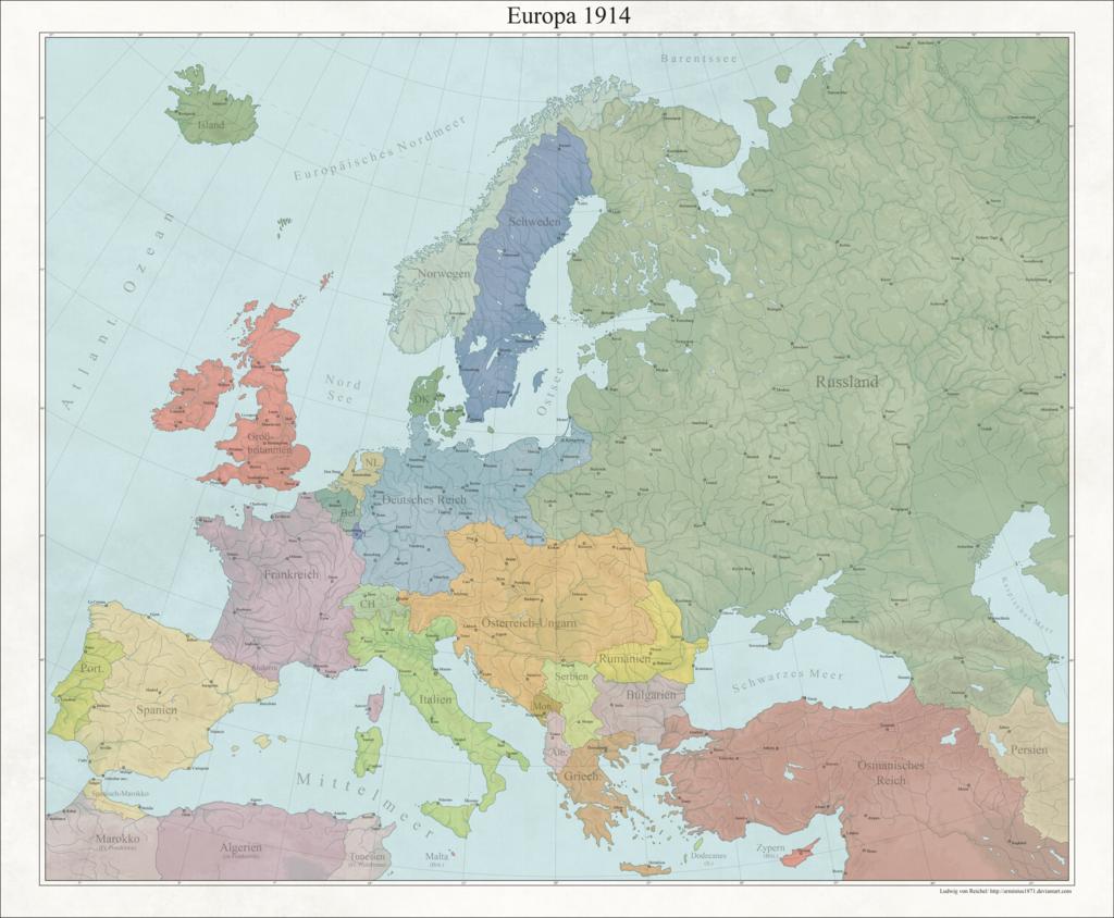Карта Европы, 1914 год