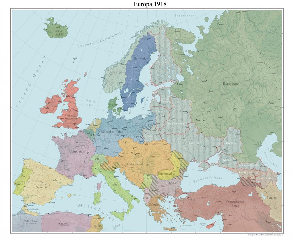 Карта Европы, 1918 г.