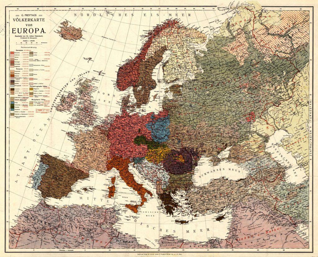 Карта Европы, 1915 г.