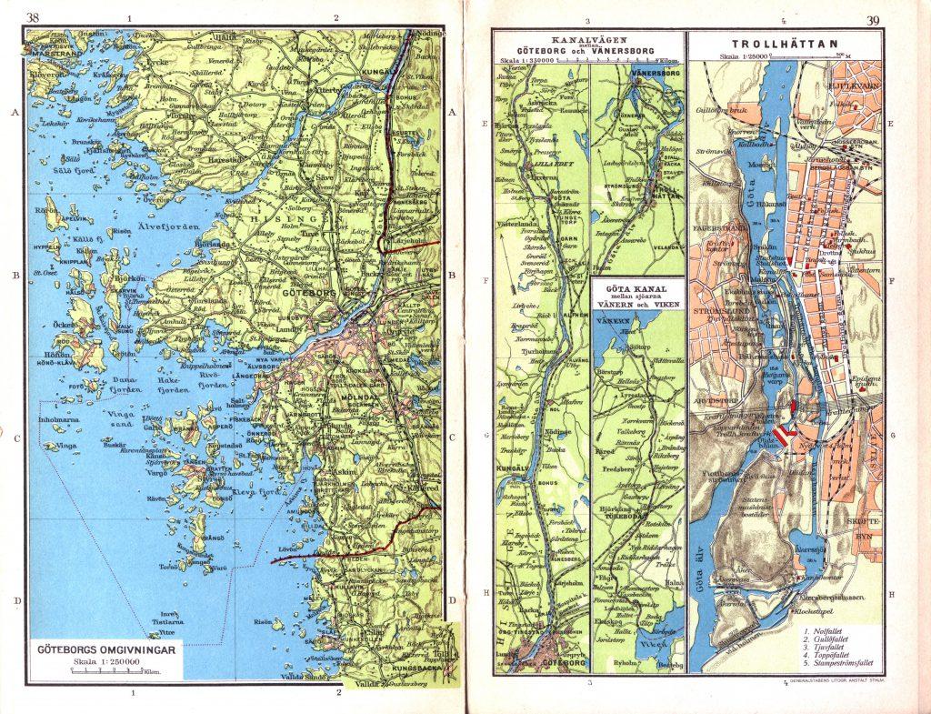 Карта Гётеборга и Тролльхеттана, 1928 г.