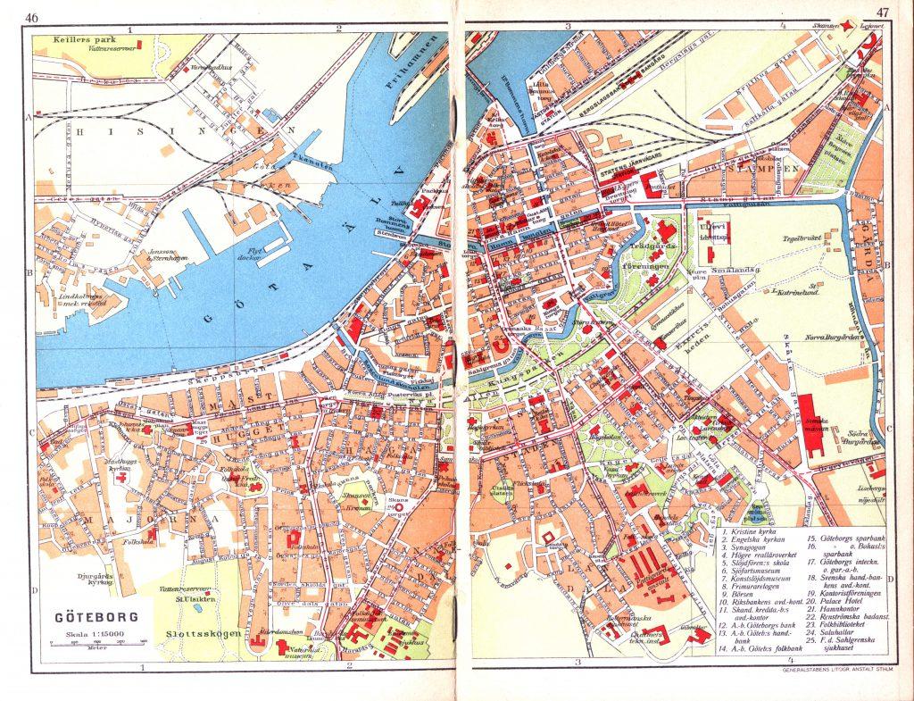 Карта Гётеборга, 1928 г.