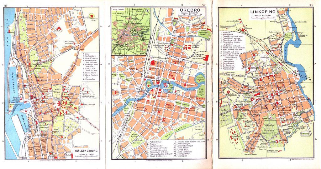 Карты городов Хельсингборг, Эребру, Линчёпинг, 1928 г.