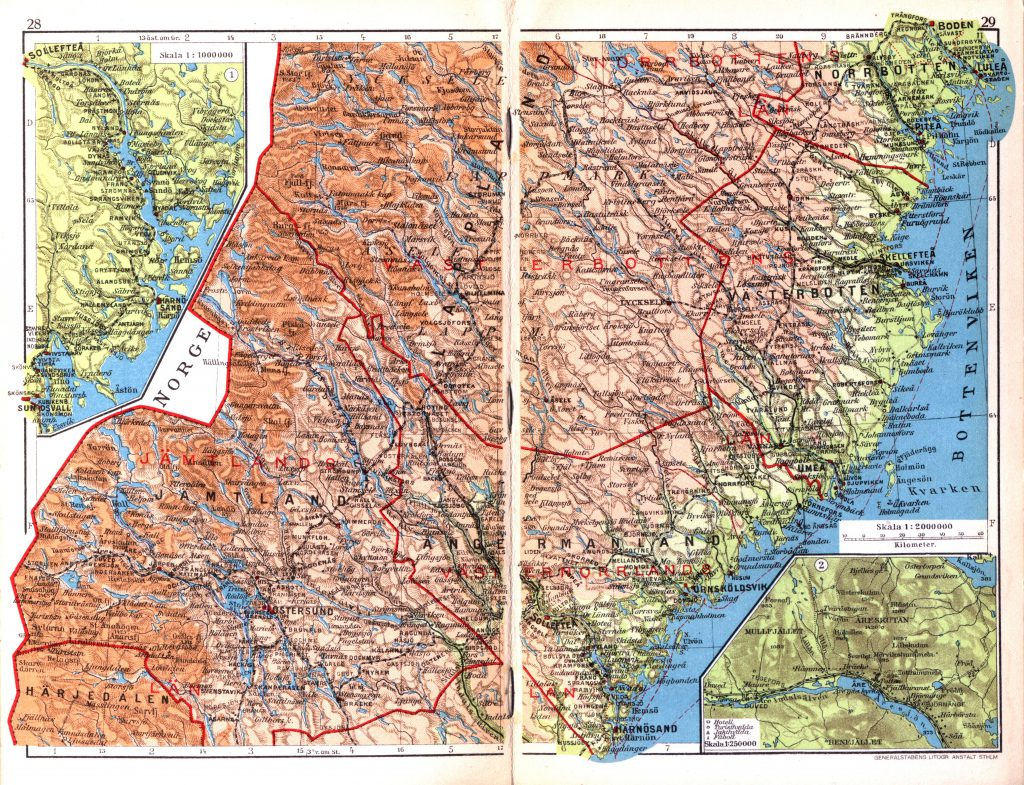 Карта провинций Емтланд, Онгерманланд, Вестерботтен, 1928 г.