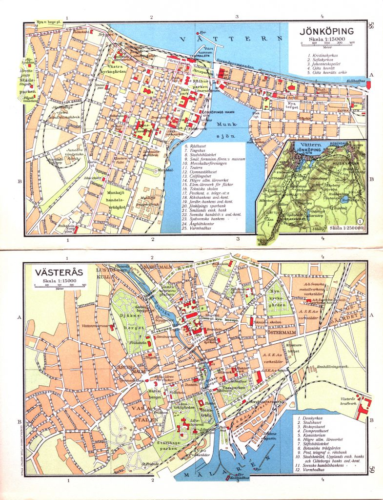 Карта городов Йёнчёпинг, Вестерос, 1928 г.