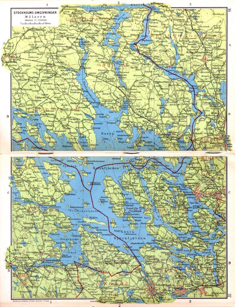 Карта озера Меларен, 1928 г.