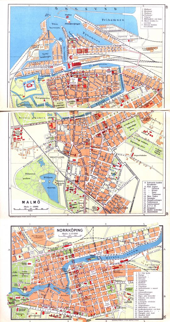 Карты городов Мальмё, Норрчёпинг, 1928 г.