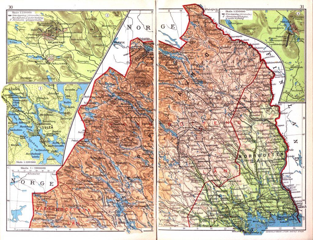 Карта провинций Норрботтен и Лапландия, 1928 г.