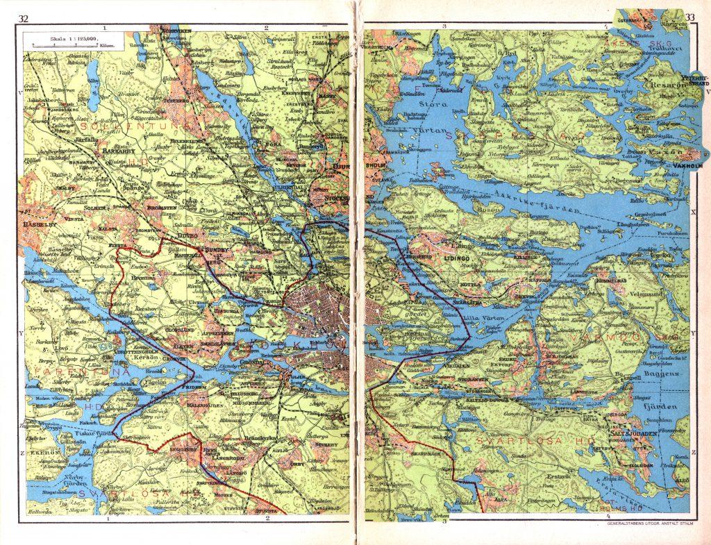 Карта Стокгольма и его окрестностей, 1928 г.