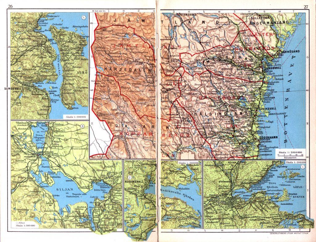 Карта провинций Херьедален, Медельпад, Хельсингланд, Даларна, 1928 г.