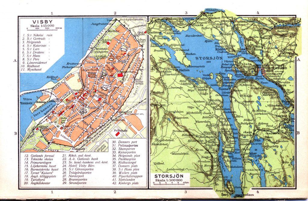 Карта городов Висбю, Стуршён, 1928 г.
