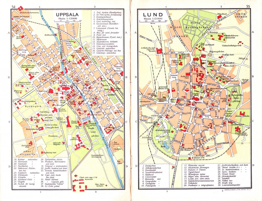 Карта городов Уппсала, Лунд, 1928 г.
