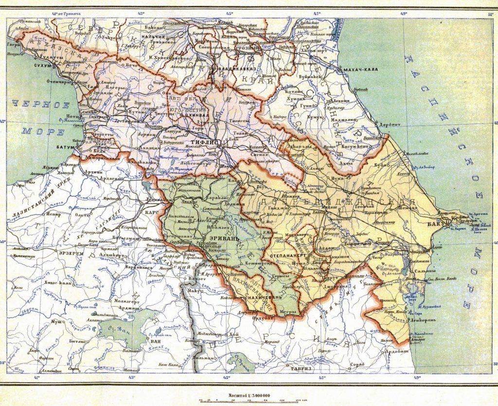 Карта Закавказской Социалистической Федеративной Советской Республики, 1928 г.
