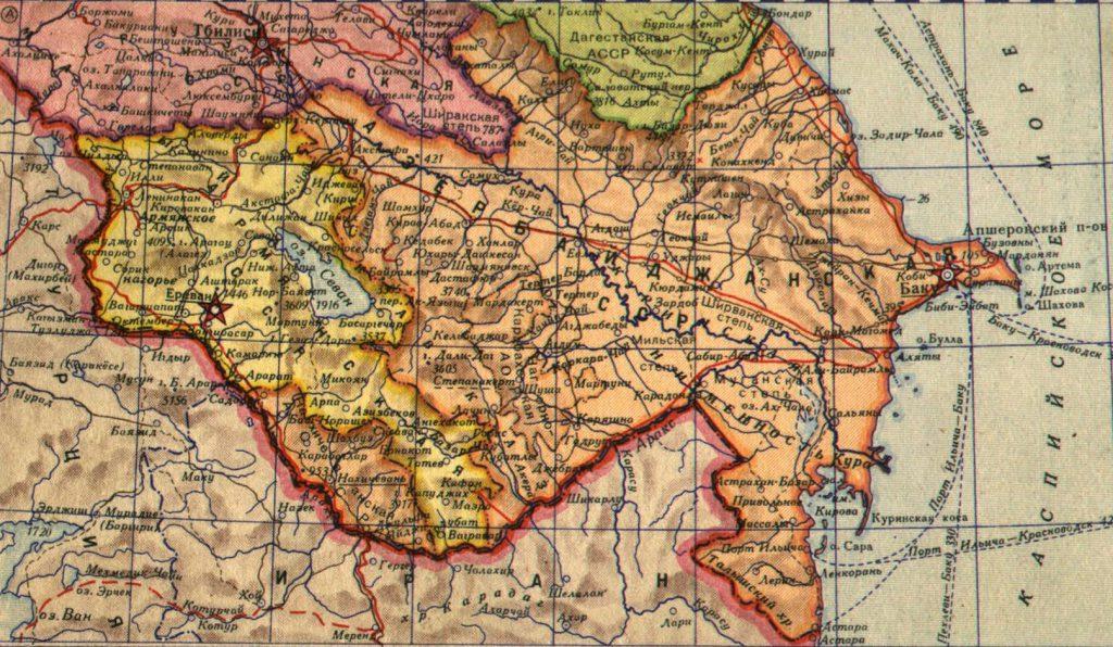 Карта Азербайджанской ССР, 1940 г.